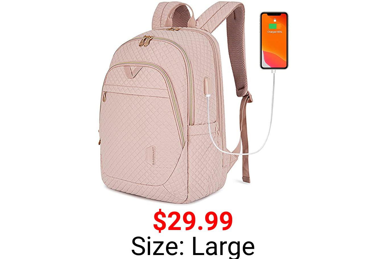 Womens Backpack BAGSMART Pink Backpack College 15.6'' Laptop Computer Bag College Bookbag School Work Business Back Pakcs Pink