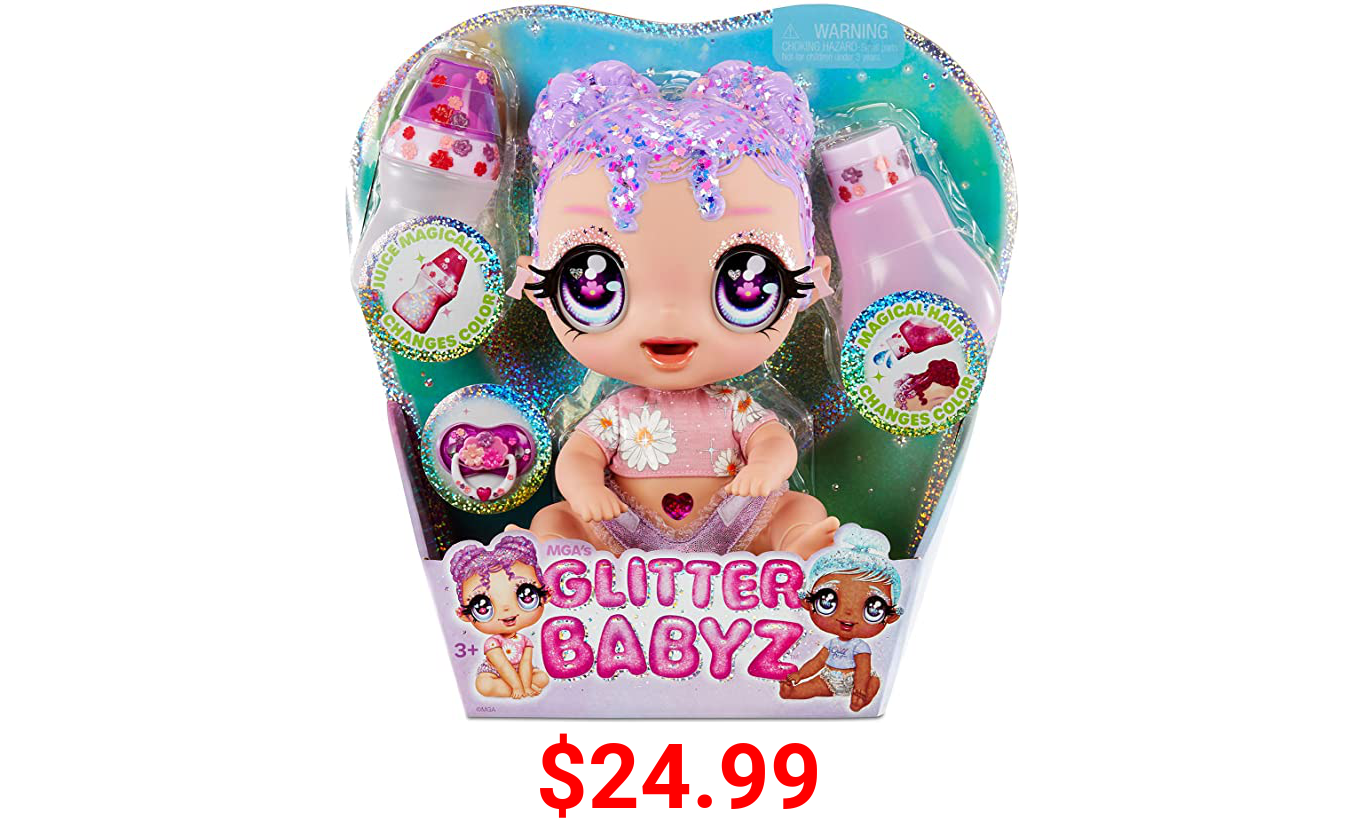 MGA'S Glitter BABYZ Lila Wildboom Baby Doll with 3 Magical Color Changes / Lavender Purple Hair Doll with Flowers ON The Outfit and Reusable Diaper, Bottle and Pacifier / Ages 3 and UP