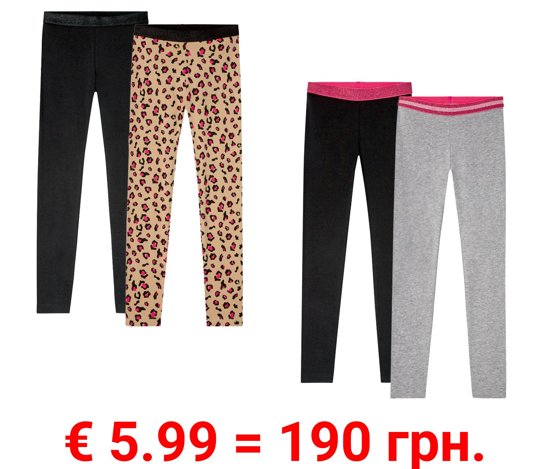 PEPPERTS® 2 Mädchen Leggings, stylischerGlitzerbund