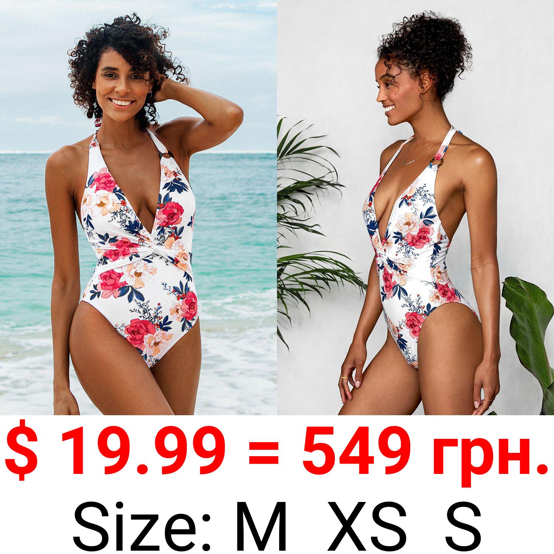Floral Plunge Halter One Piece Swimsuit