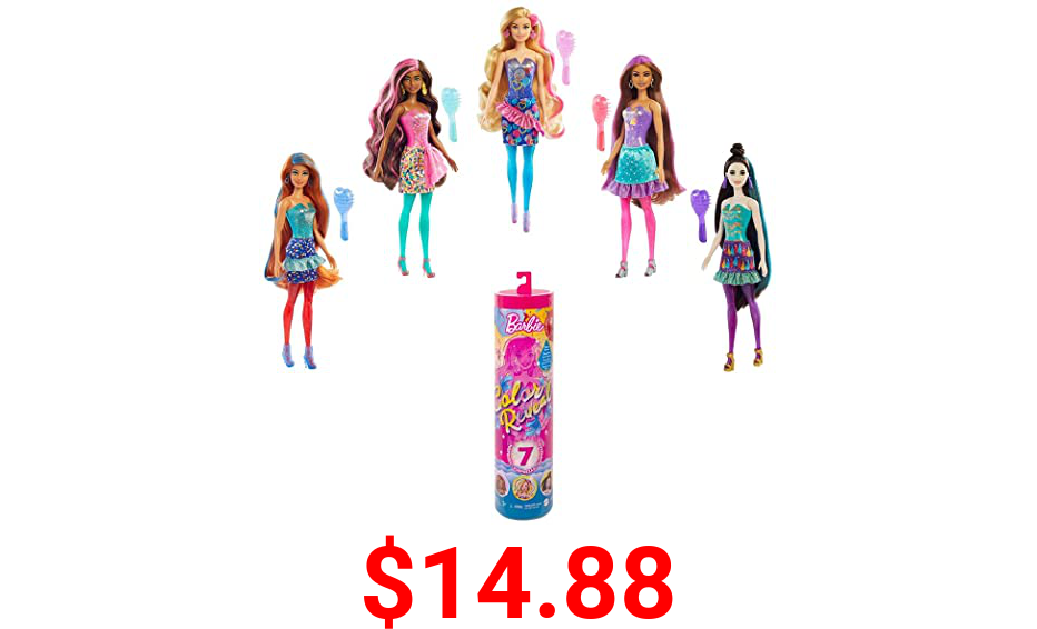 Barbie Color Reveal Doll with 7 Surprises: 4 Bags Contain Skirt, Shoes, Earrings & Brush; Water Reveals Confetti-Print; Doll's Look & Color Change on Hair & Face; Party Series