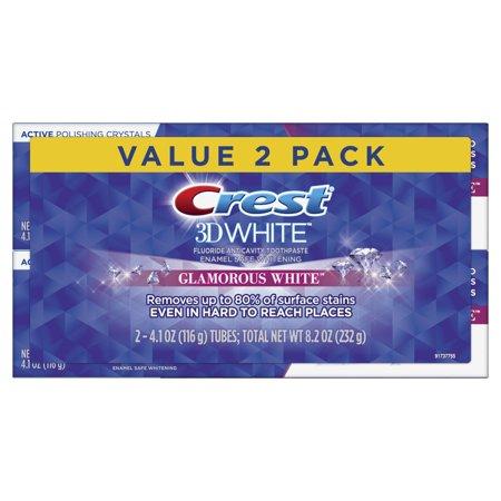 Crest 3D White Whitening Toothpaste, Glamorous White, 4.1 oz, 2 Pack