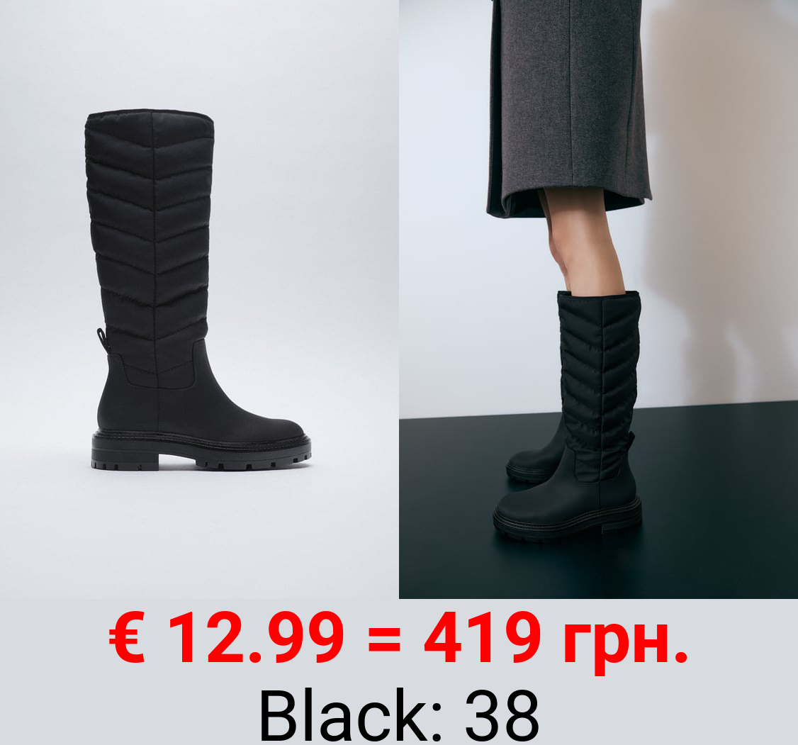 QUILTED FLAT KNEE-HIGH BOOTS