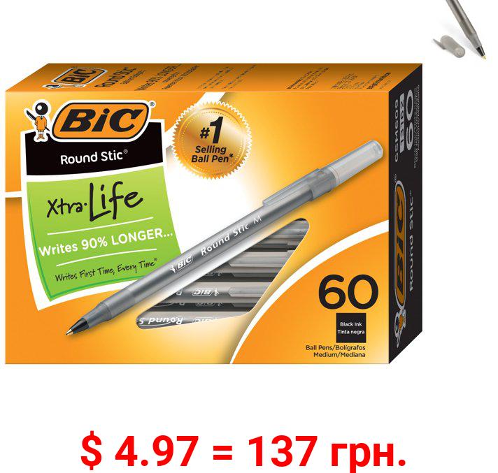 BIC Round Stic Xtra Life Ball Pen, Classic Medium Point (1.0mm), Black, Box of 60 Ballpoint Pens, Smooth Writing