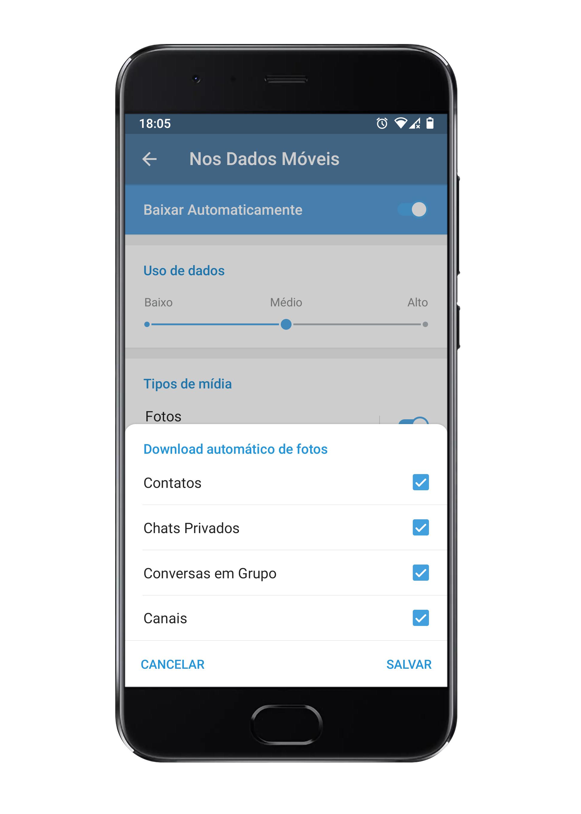 Configurações de download automático de fotos.