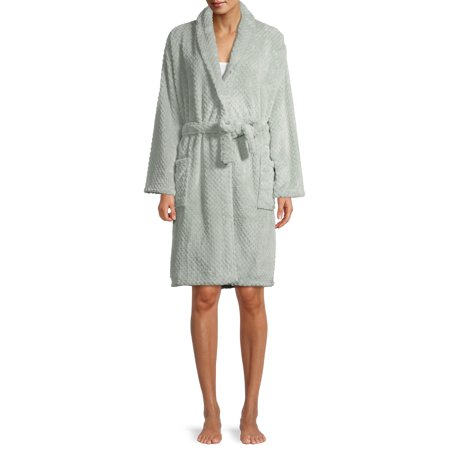 Blue Star Clothing Women's 3/4 Length Textured Plush Robe