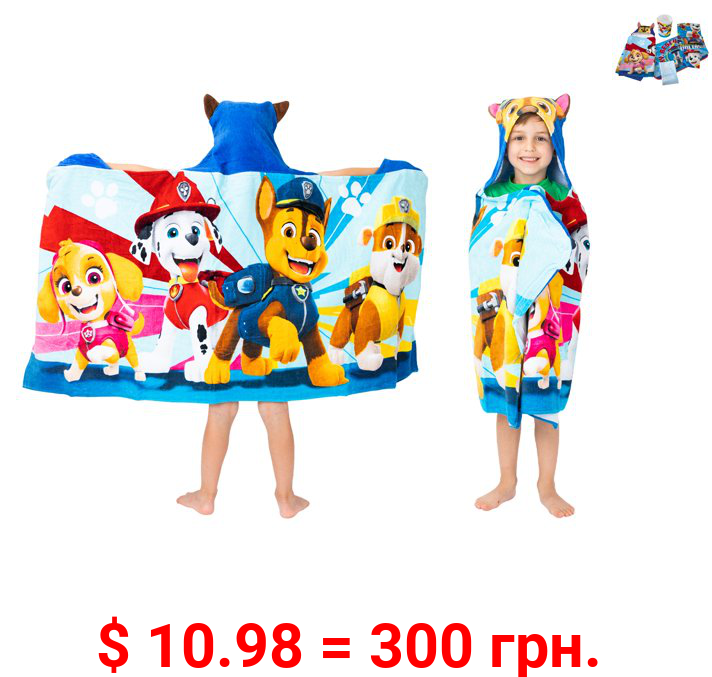 PAW Patrol Kids Bath and Beach Hooded Towel Wrap, 100% Cotton