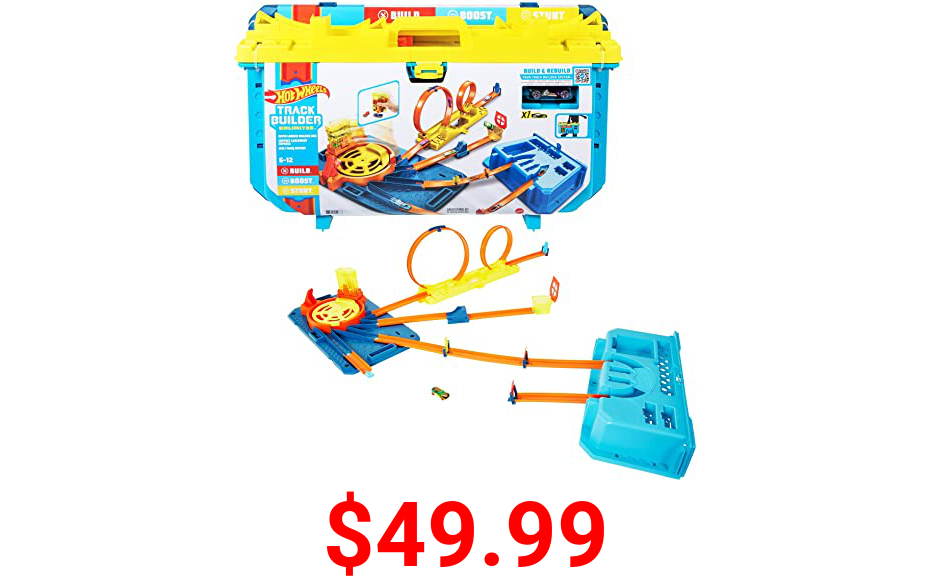 Hot Wheels Track Builder Unlimited Rapid Launch Builder Box, All-In-One Building & Stunting Kit with Track Pieces & Accessories & Storage Container, Gift for Kids 6 Years & Up