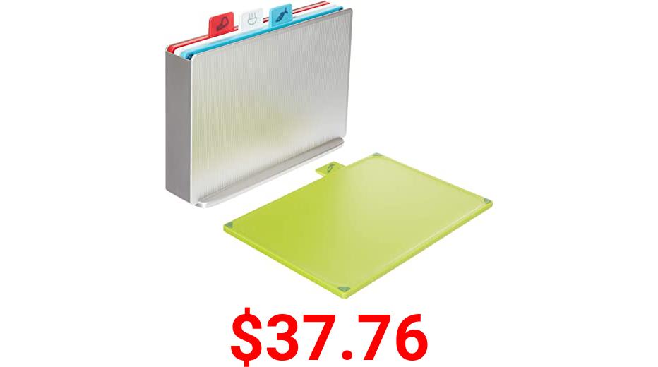 Joseph Joseph Index Plastic Cutting Board Set with Storage Case Color-Coded Dishwasher-Safe Non-Slip, Small, Silver