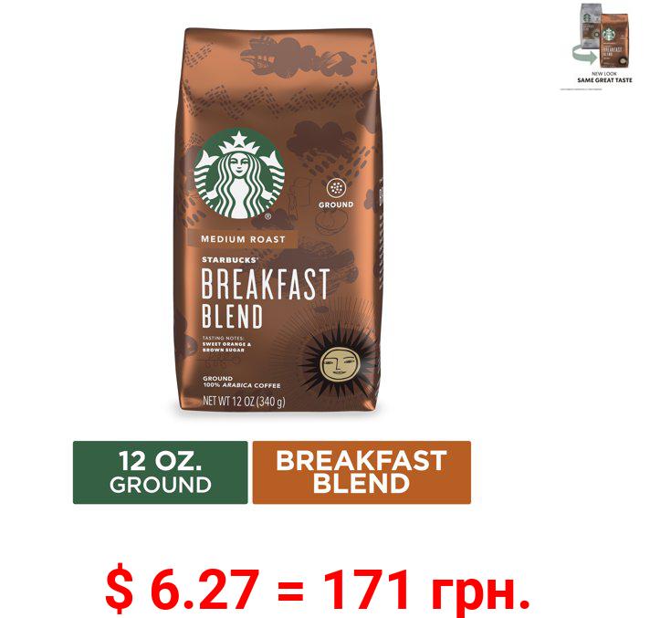 Starbucks Medium Roast Ground Coffee — Breakfast Blend — 100% Arabica — 1 bag (12 oz.)