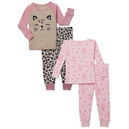 Wonder Nation Baby Girls & Toddler Girls Snug Fit Cotton Long Sleeve Pajamas, 4-Piece PJ Set (12M-5T)