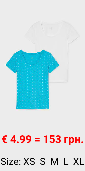 Multipack 2er - Basic-T-Shirt - Bio-Baumwolle