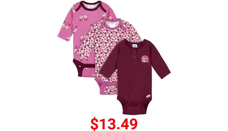 Gerber baby-girls 3-pack Long Sleeve Thermal Onesies Bodysuits