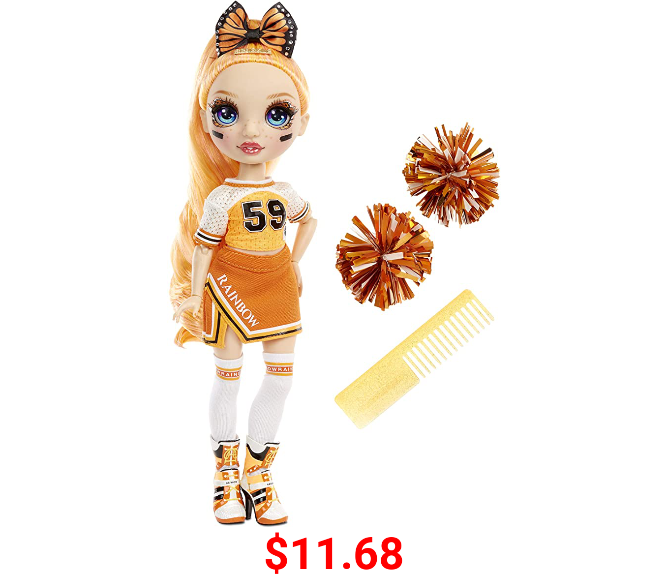 Rainbow High Cheer Poppy Rowan – Orange Cheerleader Fashion Doll with 2 Pom Poms and Doll Accessories, Great Gift for Kids 6-12 Years Old