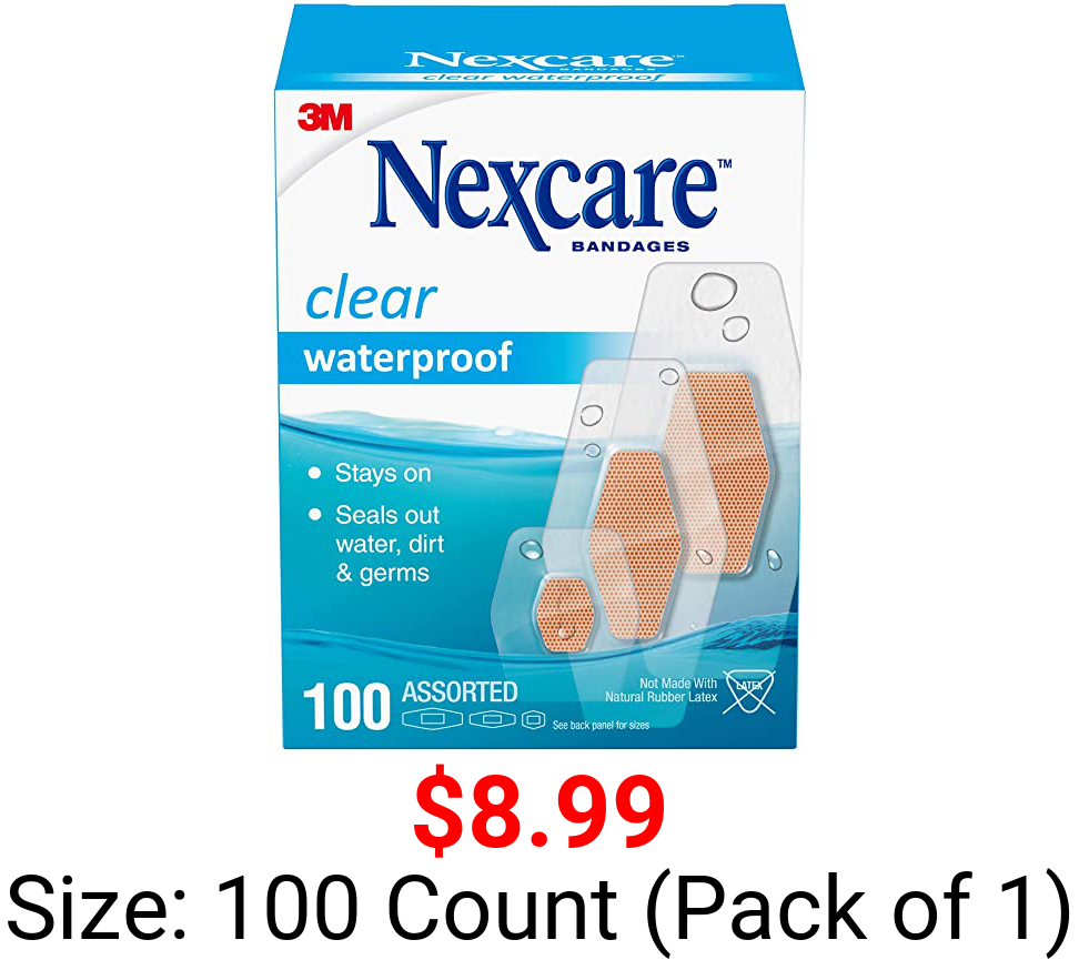 Nexcare Waterproof Bandages Family Pack, Assorted Sizes, Tan, 100 Count