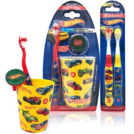 Hot Wheels Kids Happy Brushing Time Soft Bristle Toothbrush Set- Manual Toothbrush, Cover Cap, Rinsing Cup, Extra Brushes