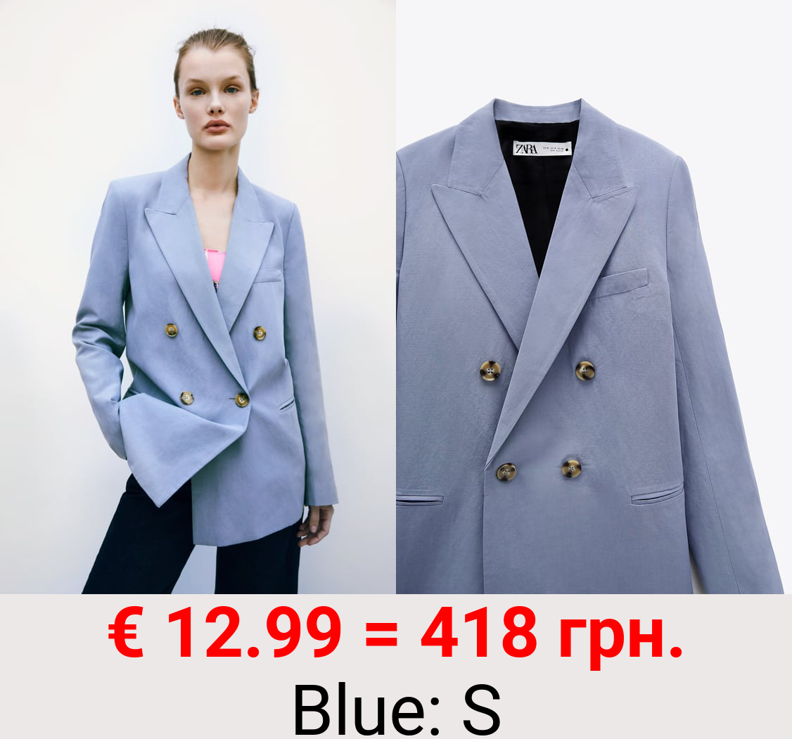 DOUBLE-BREASTED LINEN BLEND BLAZER