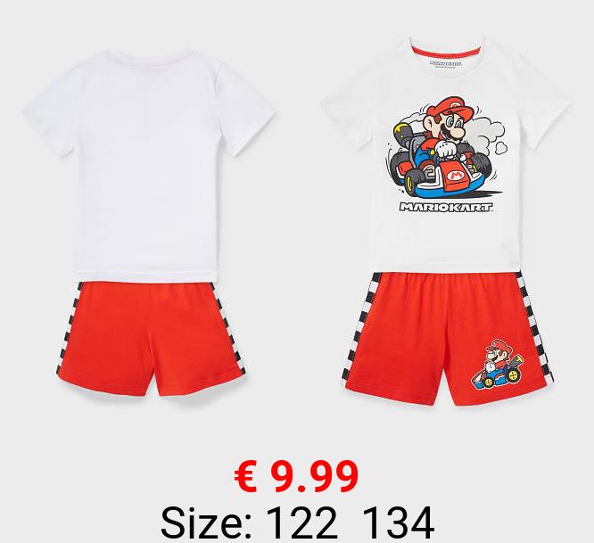 Super Mario - Shorty-Pyjama - Bio-Baumwolle - 2 teilig