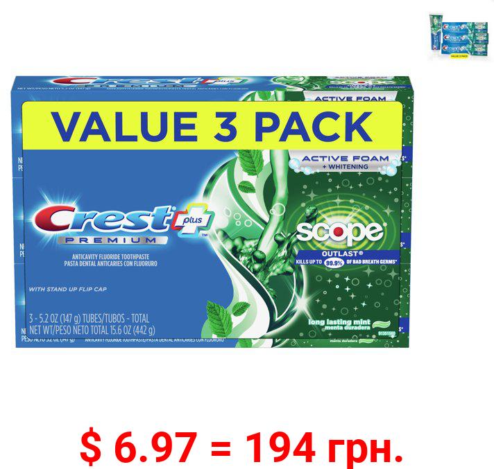 Crest Premium Plus Scope Outlast Toothpaste, Mint, 5.2 oz, 3 pk