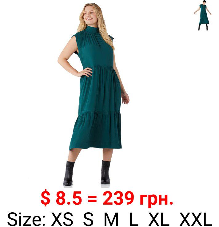 Free Assembly Women's Sleeveless Tie Back Tiered Midi Dress
