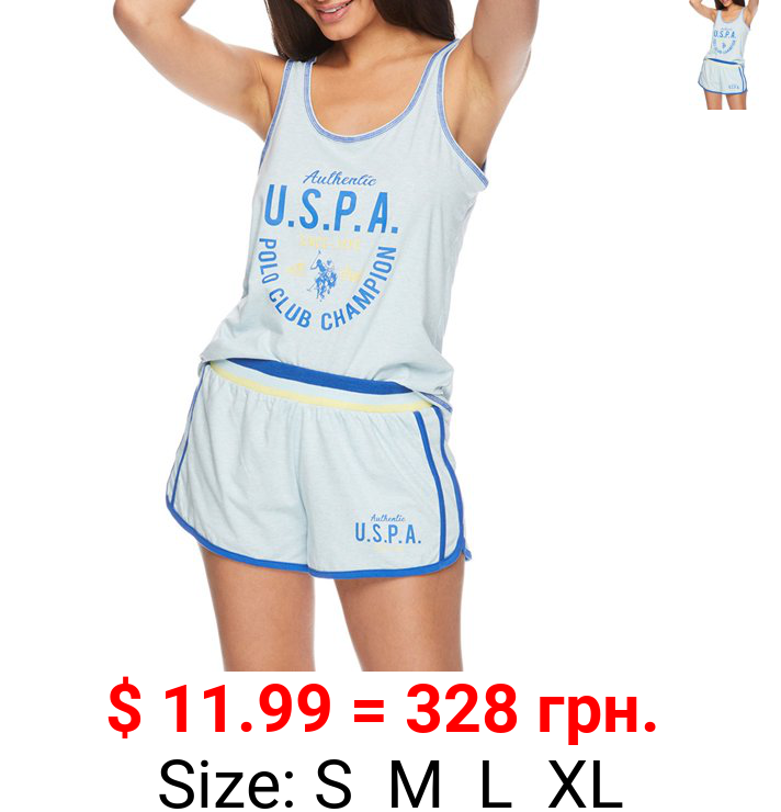 U.S. Polo Assn. Women's 2pc Tank Top and Shorts Lounge Pajama Sleep Set with U.S.P.A. Logo