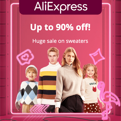 Huge sale on sweaters  Up to 90% off! Promotion Period: 01-09-2020 - 07-09-2020