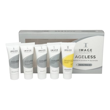 Image Ageless Travel Kit Total Facial Cleanser, Total Anti-Aging Serum, Total Repair Creme, Total Resurfacing Masque, Prevention+ Ultimate Protection Moisturizer SPF 50 - 4 x 0.25 oz