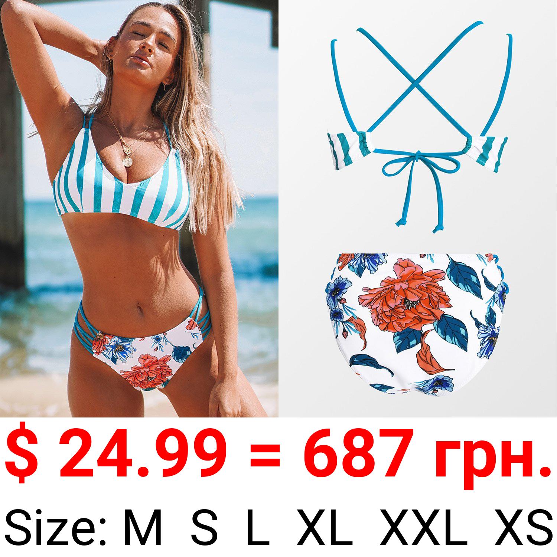 Stripe and Floral Strappy Bikini