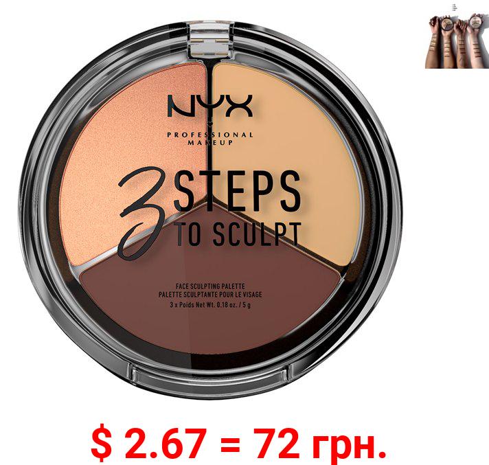 NYX Professional Makeup 3 Steps to Sculpt Face Sculpting Palette, Medium