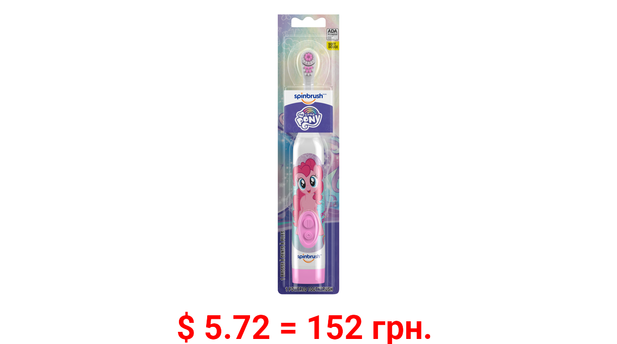 My Little Pony Kid's Spinbrush Electric Battery Toothbrush, Soft, 1 ct, Character May Vary
