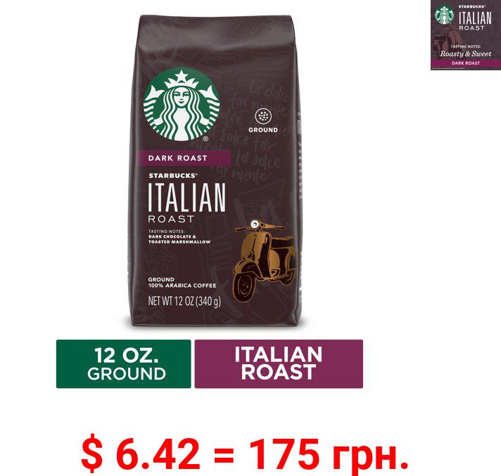 Starbucks Dark Roast Ground Coffee — Italian Roast — 100% Arabica — 1 bag (12 oz.)