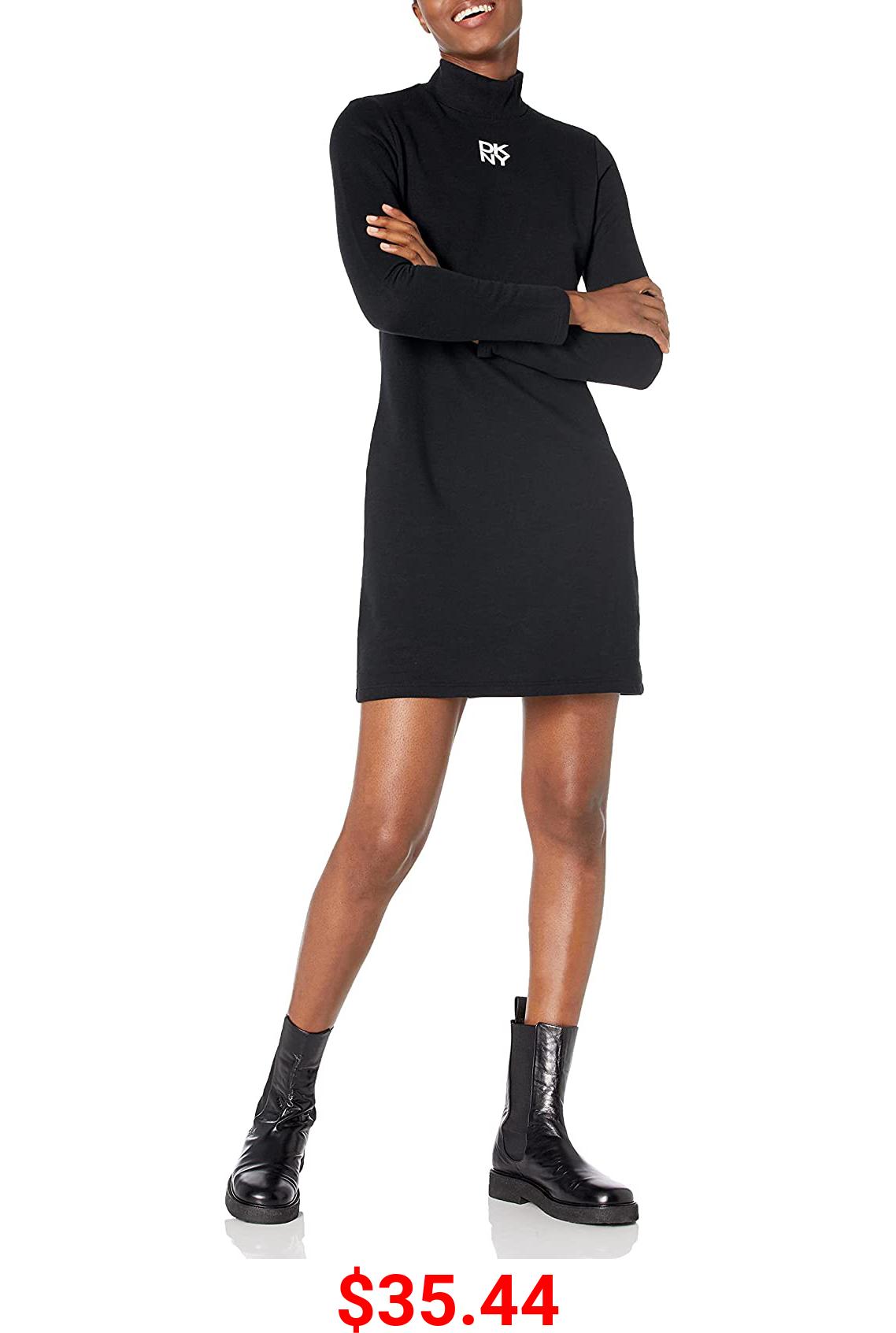 DKNY Women's T-Shirt Dress, Black Shadow Logo, X-Large