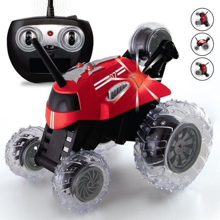 SHARPER IMAGE Thunder Tumbler Toy RC Car for Kids, Remote Control Monster Spinning Stunt Mini Truck for Girls and Boys, Racing Flips and Tricks with 5th Wheel