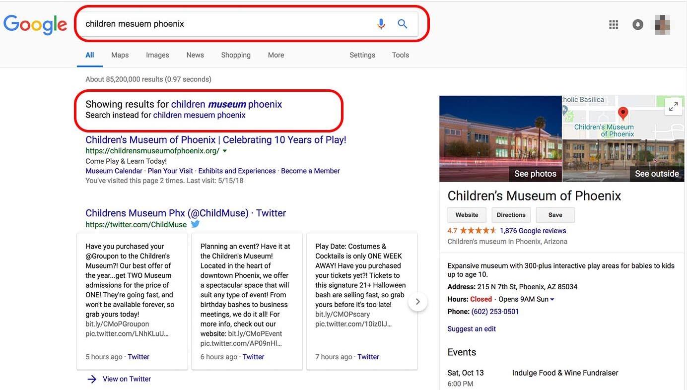 Функция автокоррекции Google не позволила детям найти нужные результаты поиска, когда они сделали опечатку.