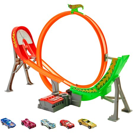 Hot Wheels Power Shift Raceway Track & 5-Race Vehicles Set