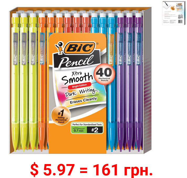 BIC Xtra Smooth Mechanical Pencil Bright Edition 0.7 mm, 40 Count