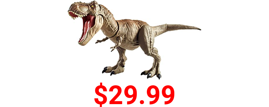 Jurassic World Bite 'n Fight Tyrannosaurus Rex in Larger Size with Realistic Sculpting, Articulation & Dual-Button Activation for Tail Strike and Head Strikes, Ages 4 and Older [Amazon Exclusive]