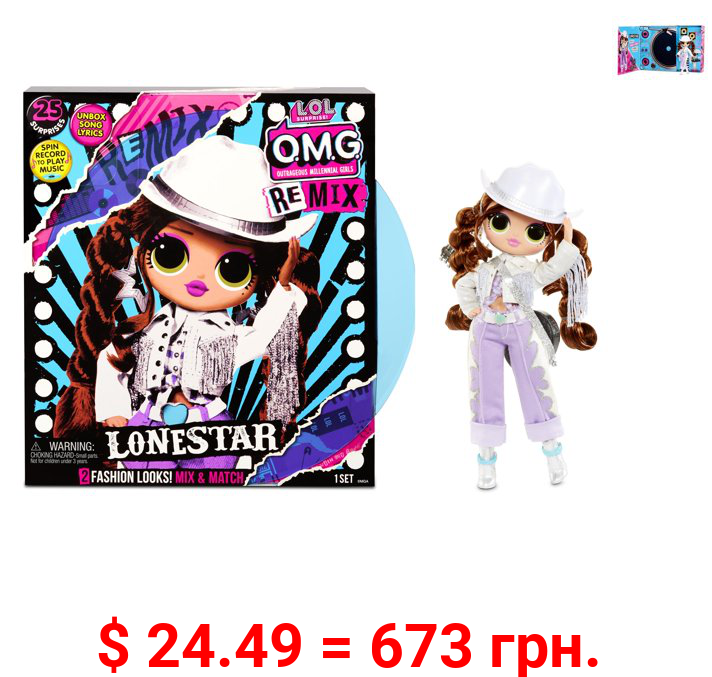 LOL Surprise OMG Remix Lonestar Fashion Doll - 25 Surprises with Music Age 5+