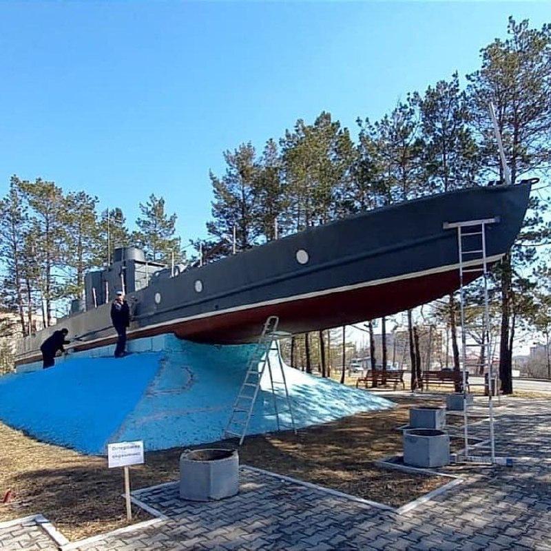 Мемориал «Бронекатер» обновили в Хабаровске