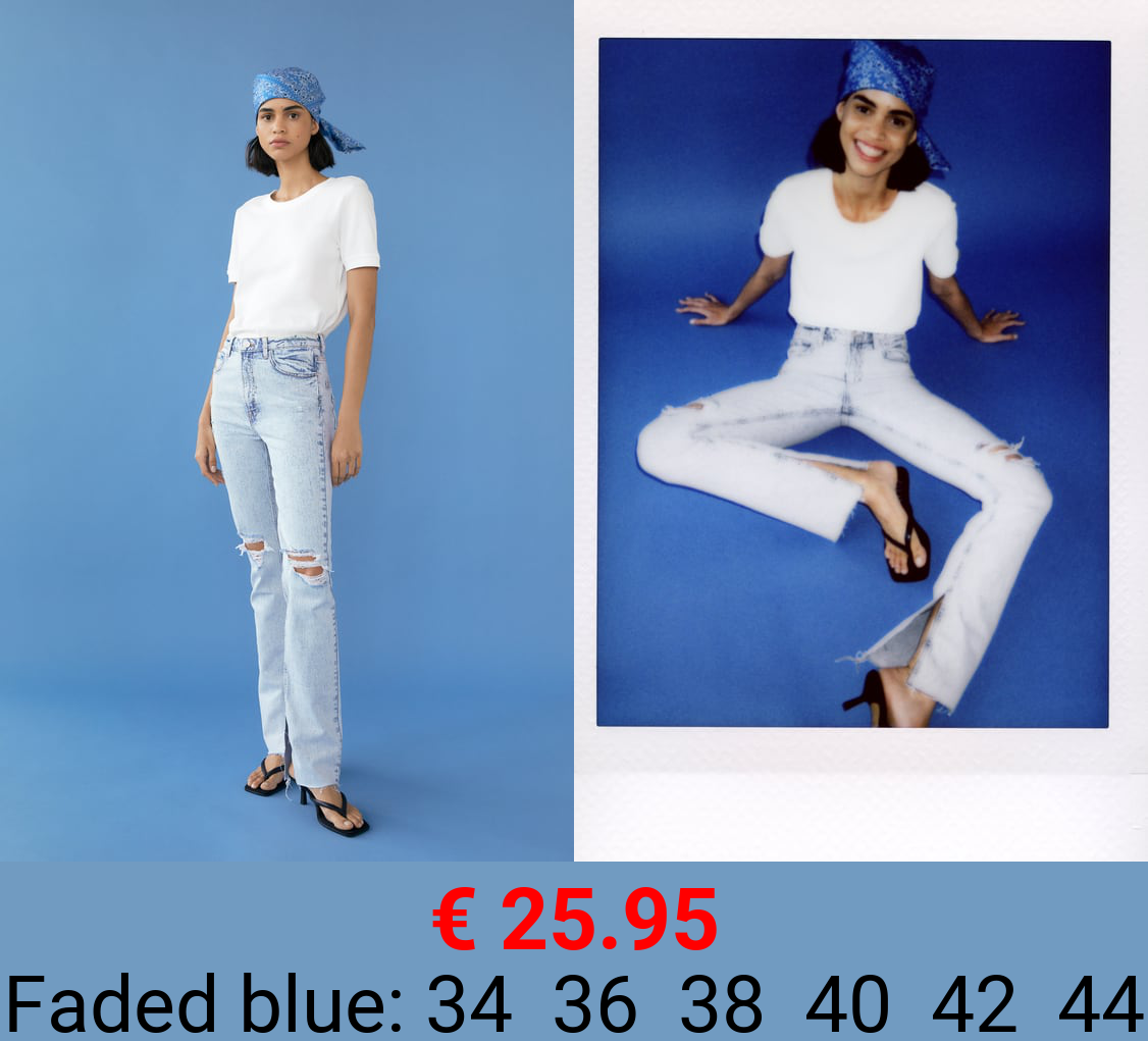 Z1975 SLIM FLARED RIPPED JEANS