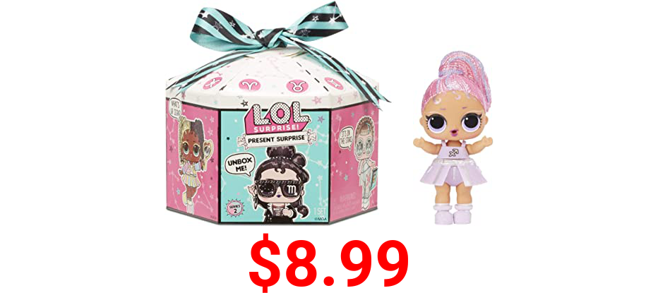 LOL Surprise Present Surprise Series 2, Glitter Star Sign Doll with 8 Surprises - Colorful Fun Collectible Doll Playset with Doll Accessories Including Outfit - Birthday Gifts for Girls Ages 4-14