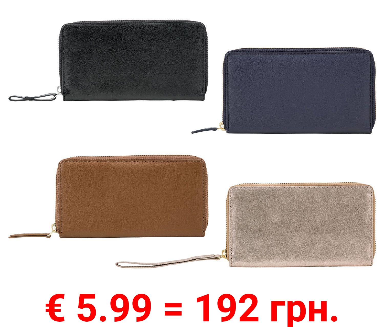 ESMARA® Geldbörse Damen, mit Rundumreißverschluss, viele Steckfächer, aus echtem Leder