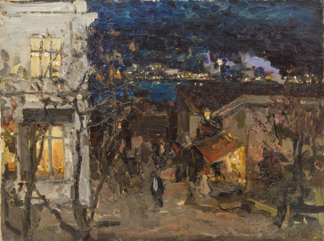 Обои улица, городской пейзаж, автомобиль, Париж Ночью, дома, Константин Коровин, люди, картина. Разное foto 11