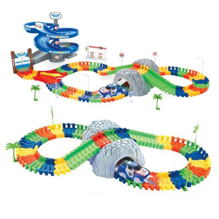 Flexible Track Car 118 pcs Police + 1 Car w/5 led + 1 rotary table + 1 tunnel and more!!