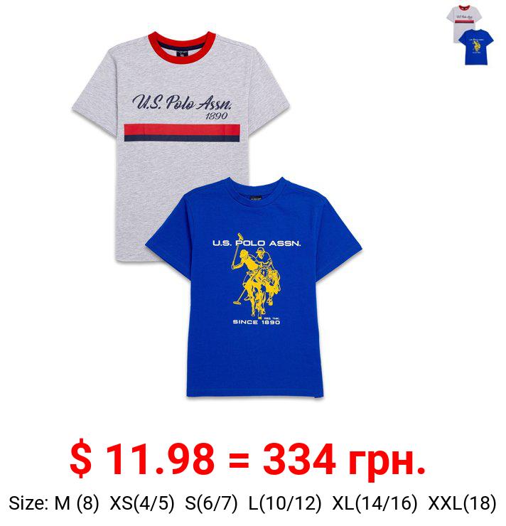 U.S. Polo Assn. Boys Short Sleeve Crew Neck T-Shirt, 2-Pack, Sizes 4-18