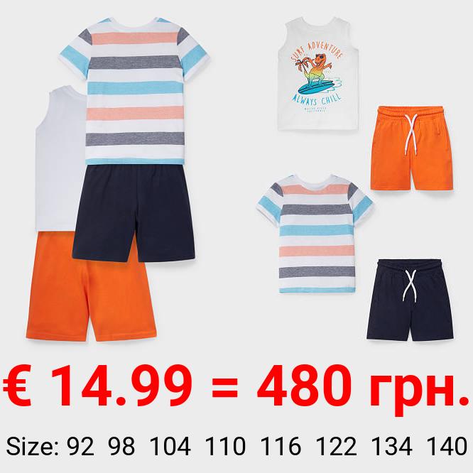 Set - Kurzarmshirt, Top und 2 Sweatshorts - Bio-Baumwolle