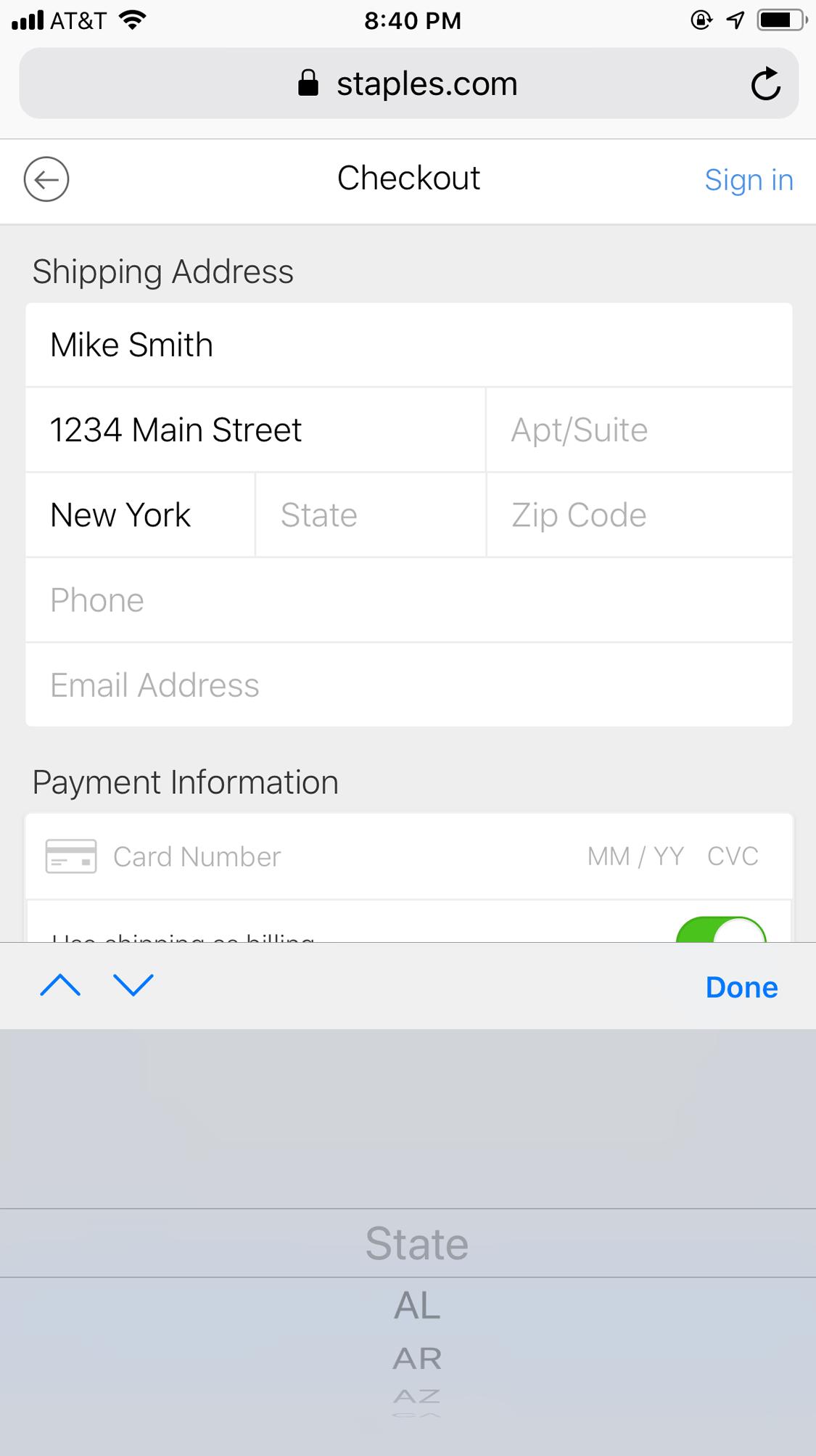 Пользователи на Staples.com должны были прокрутить длинный выпадающий список, чтобы выбрать две буквы, которые представляют их состояние. Пользователи гораздо быстрее вводят буквы, чем прокручивают вниз, чтобы выбрать позицию из выпадающего списка.