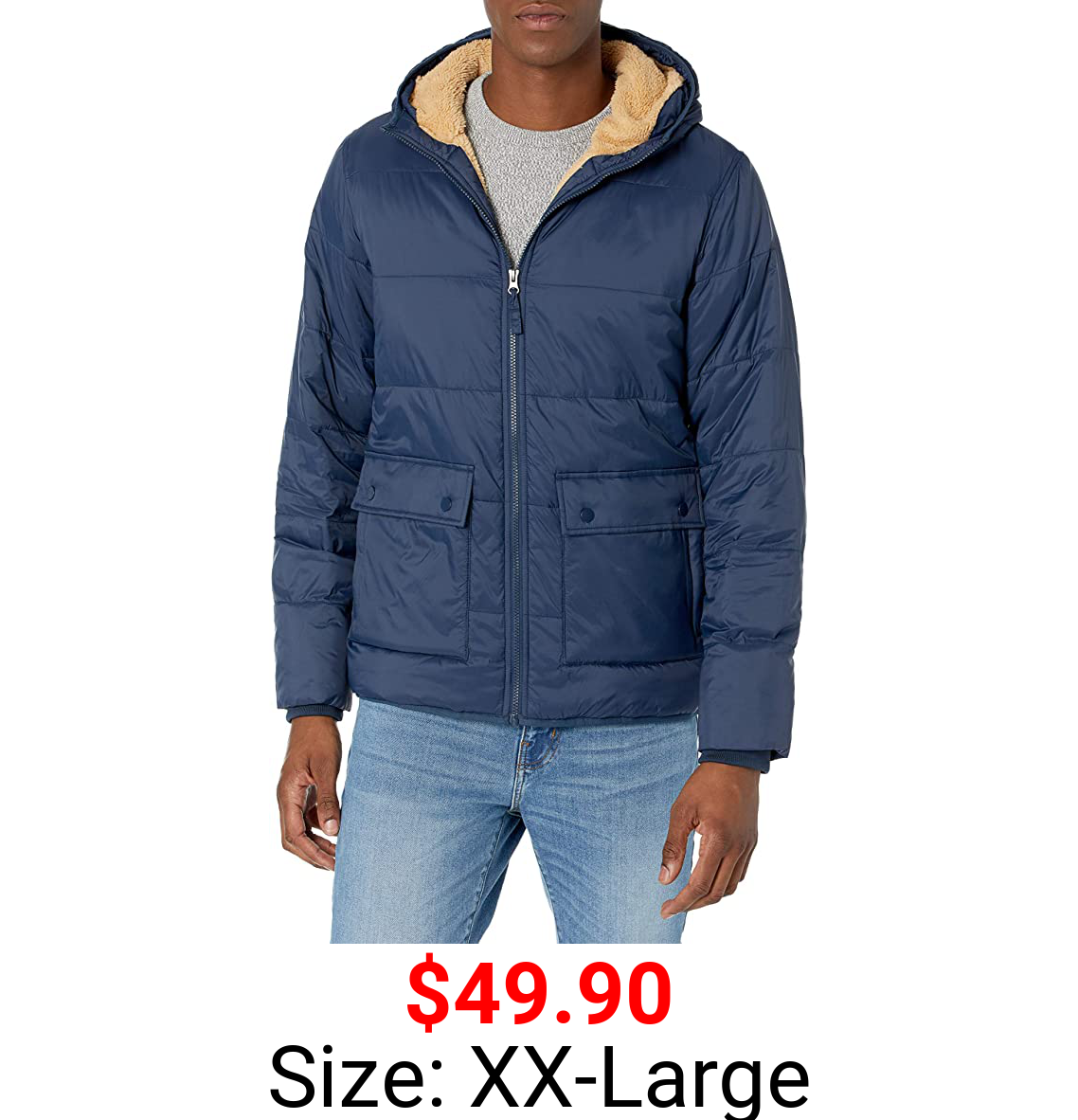 Amazon Essentials Men's Long-Sleeve Water-Resistant Sherpa-Lined Puffer Jacket