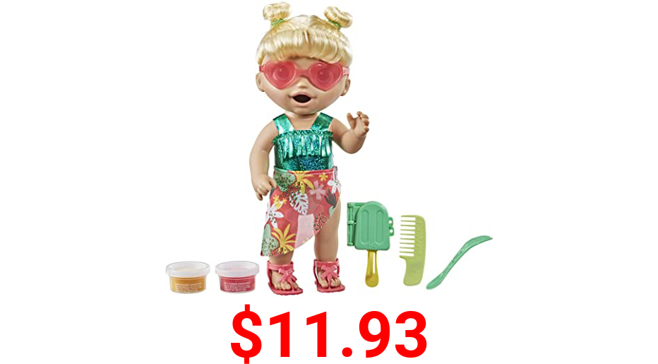 Baby Alive Sunshine Snacks Doll, Eats and Poops, Summer-Themed Waterplay Baby Doll, Ice Pop Mold, Toy for Kids Ages 3 and Up, Blonde Hair