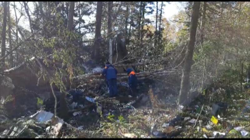 МЧС обследует место крушения самолета АН-26 в Хабаровске